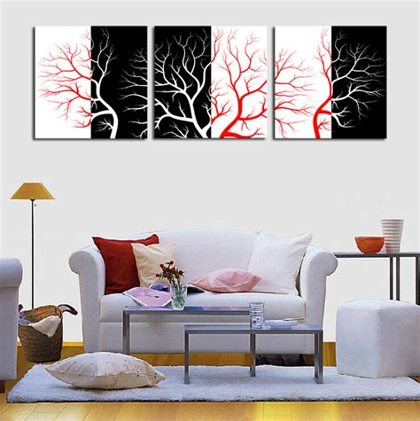 aliexpress com buy unframed 3 sets abstract tree modern canvas wall art home wall decor hd popular red white black tree painting buy cheap red white