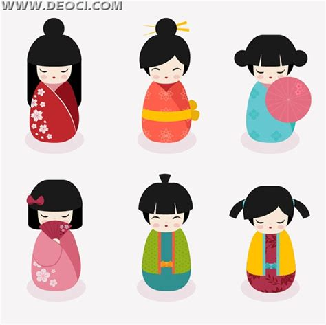 design doll download full vector cute japanese dolls ai file download deoci com