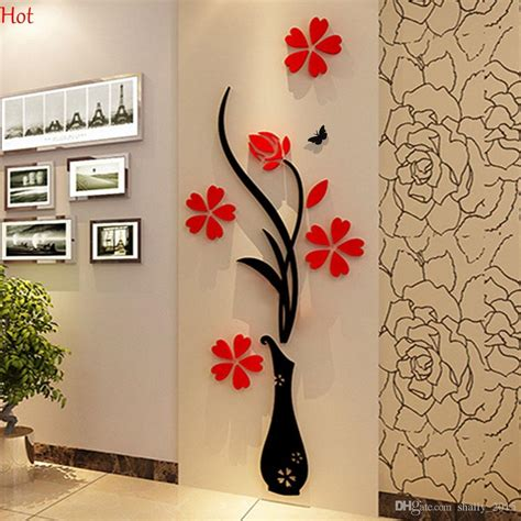 wholesale wall stickers wholesale wall stickers acrylic 3d plum flower vase