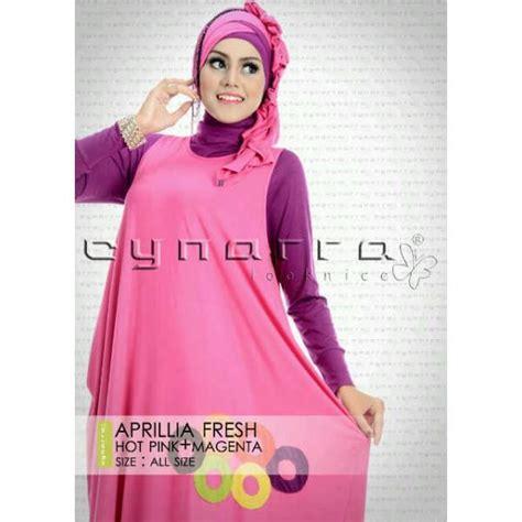 Grosir Manset Panjang Eco M Fit L a pink magenta baju muslim gamis modern