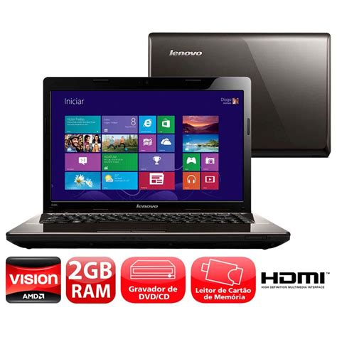 Second Laptop Lenovo G485 Amd notebook lenovo g485 amd c 60 2gb 500gb gravador de dvd leitor de cart 245 es hdmi