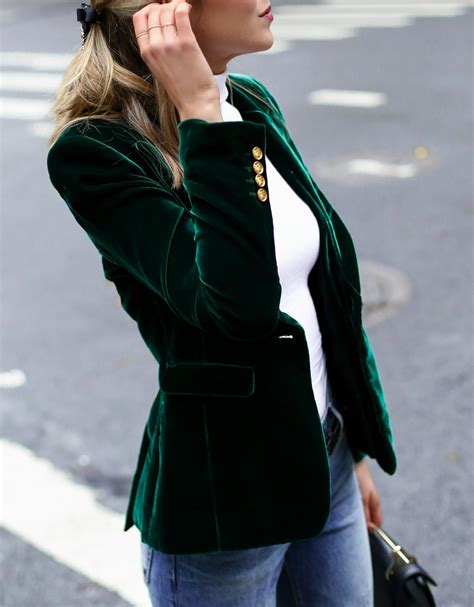Blazer Green Style Style 42 casual friday velvet blazer memorandum nyc fashion lifestyle for the working