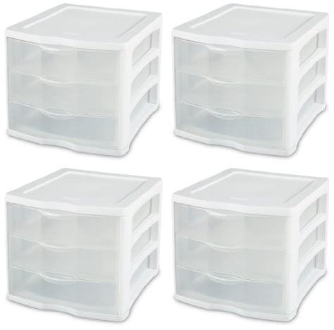 See Through Drawers by Sterilite 17918004 3 Drawer Clear View Unit With White