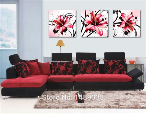 Living Room Canvas Prints by Modern Abstract Flowers Modern Wall Large Living Room