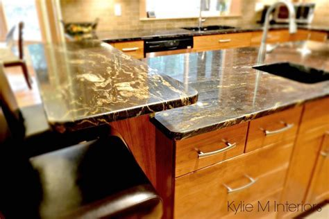 Black granite with gold and cream flecks on island with