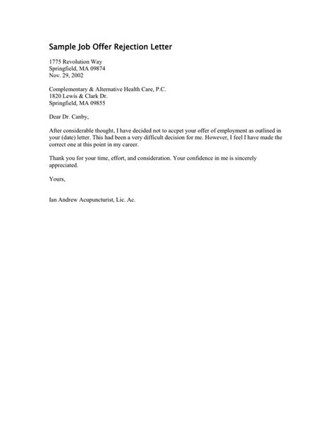 Rent Employment Letter How To Write A Letter Of Rejection