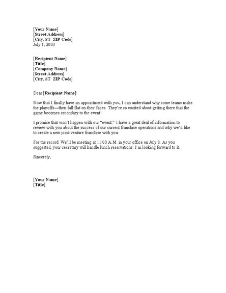 business letter sle meeting confirmation free meeting confirmation letter template office