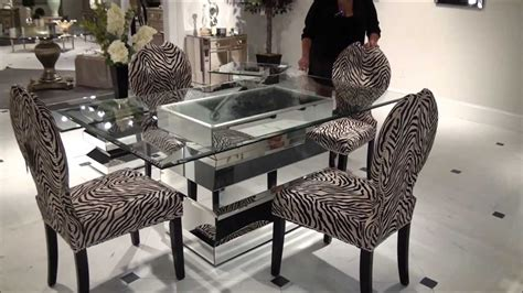home design studio bassett paparazzo mirrored dining table with zebra chairs by