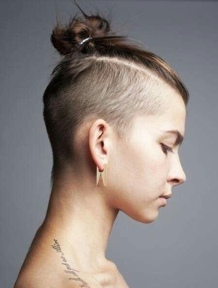 hair braided on the top but cut close on the side girl samurai bun undercut hair ideas pinterest