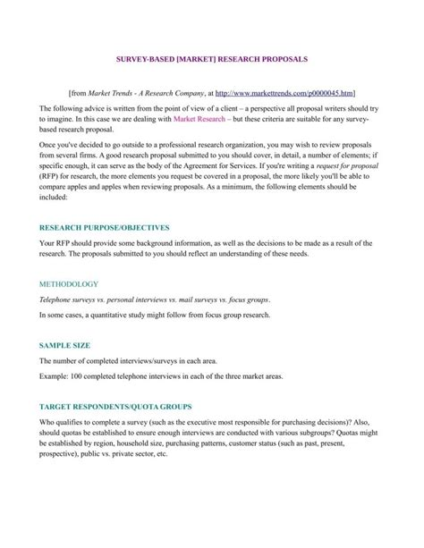 market research proposal templates word  pages  premium templates