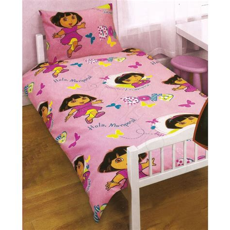 new dora the explorer toddler bedding set spanish words dora the explorer play junior cot bed duvet cover new ebay