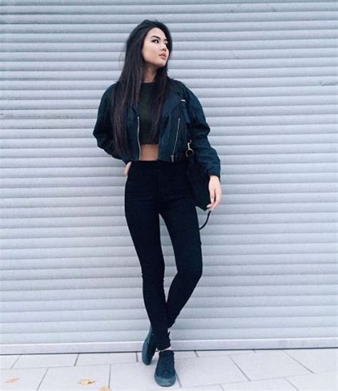 Jaket Cool Vans picture of with crop top and black