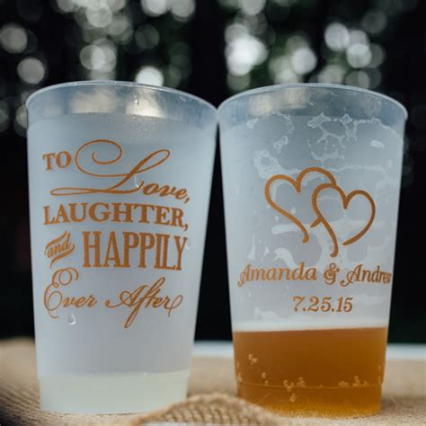 Plastic Wedding Cups   Personalized 24 Oz. Frosted   My