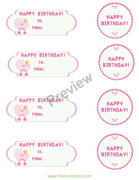 printable baby girl gift tags printable gift tags for a baby girls first birthday