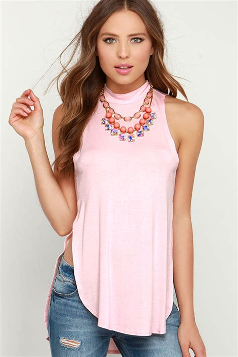 Light Pink Top by Light Pink Top Tank Top Mock Neck Top High Low