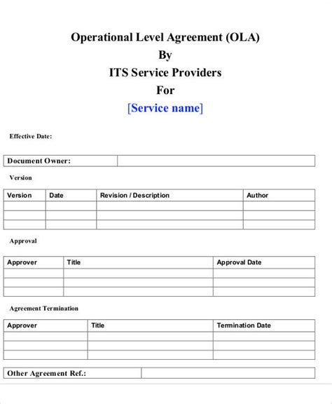 operating level agreement template printable agreement sles
