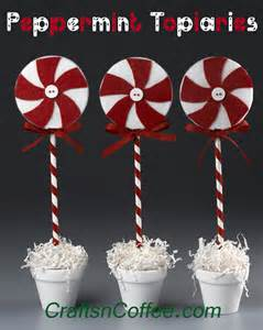 easy red white peppermint pinwheel topiaries crafts