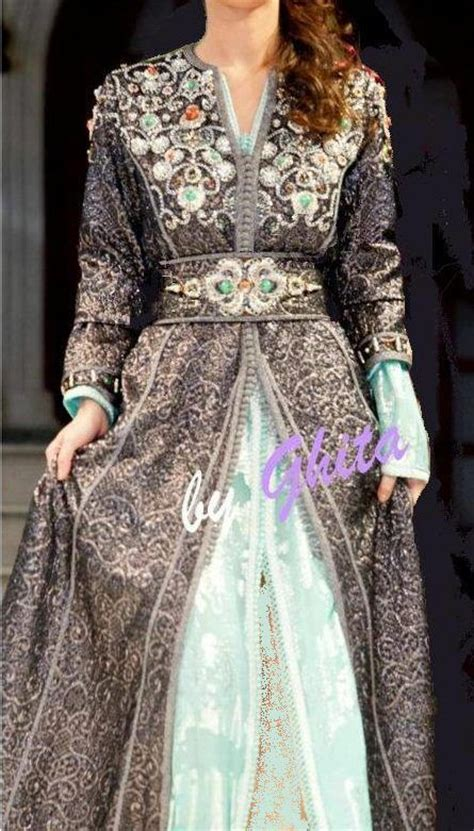 Gamis Ladubai Brocade three moroccan t kchita aquamarine lam 233 brocade aquamarine silk which is a