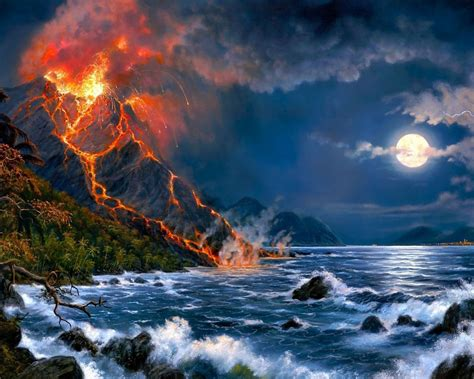 eruption  volcano sea full moon fantasy art hd wallpaper  desktop wallpaperscom