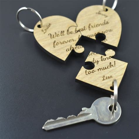 Housewarming Present personalised jigsaw wooden oak heart keyring best friend