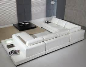 Contemporary Sectional Sofas Modern Leather 5 Sectional Sofa In White By Tosh