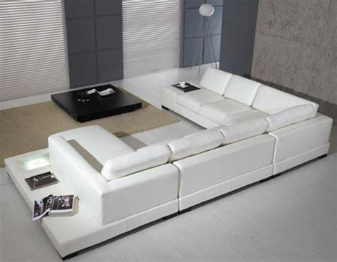Furniture Stores Sectional Sofas Modern Leather 5 Sectional Sofa In White By Tosh