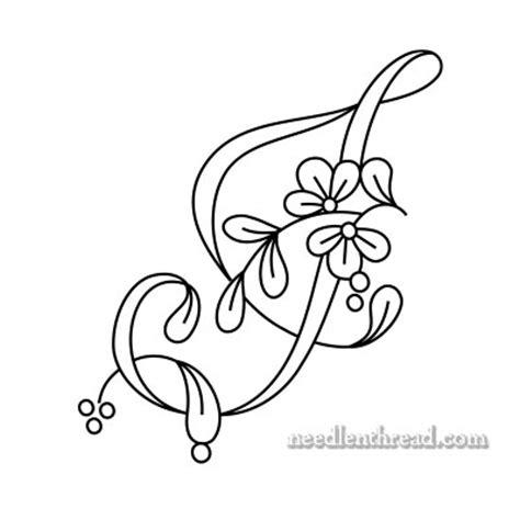 Floral J foral alphabet letters i j k and l needlenthread