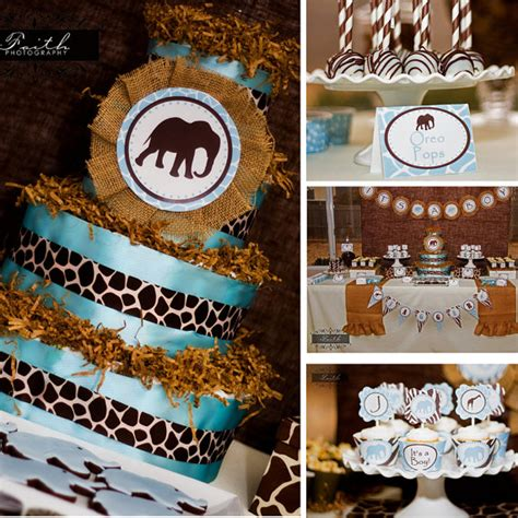 Blue Safari Baby Shower Decorations by Blue And Brown Baby Shower Table Ideas Photograph Safari B