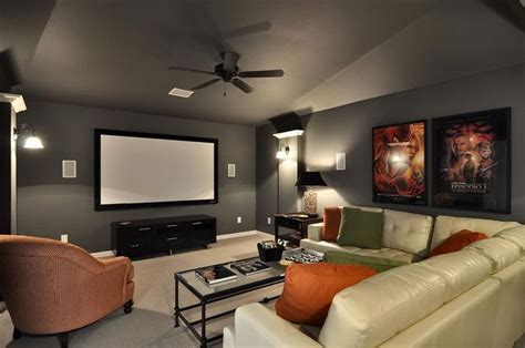 media room paint colors i like the gray walls in this media room with the pop of