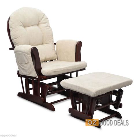 Baby Chair And Ottoman Wooden Timber Baby Glider Rocking Chair Ottoman Espresso Beige Ebay
