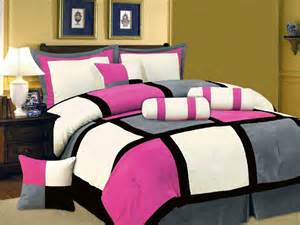 New pink black white gray bedding suede comforter set twin full queen