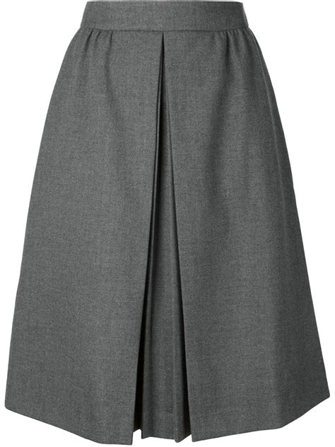 viktor rolf pleated front a line skirt in gray grey