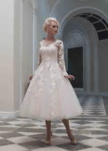 custom made long sleeve tea length wedding dress plus
