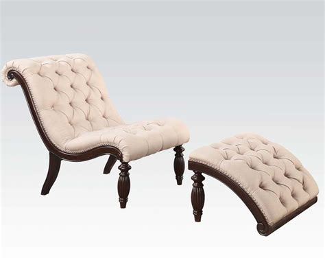 chair w ottoman acme chair w ottoman in beige fabric ac96200