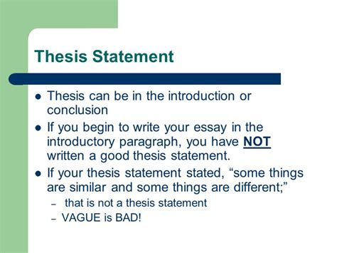 thesis statement in introduction writing the dbq thesis statement ppt