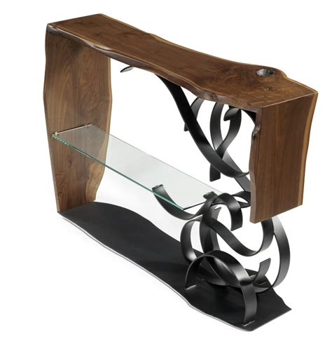 black metal and glass sofa table black walnut sofa table with hand forged metal and glass
