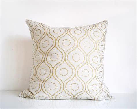 throw pillows for cream couch ivory and gold pillow metallic gold print on cream silk