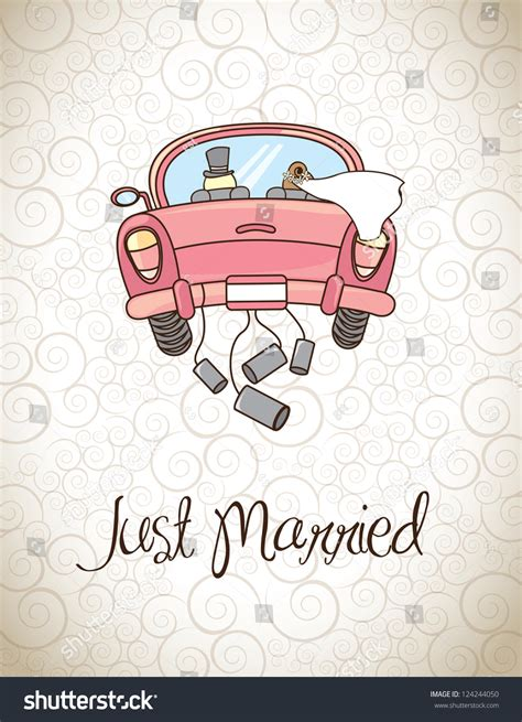 Just Married Auto Grafik by Just Married Vintage Background Vector Stock