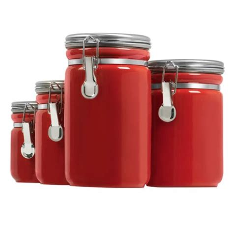 red kitchen canisters 4 piece red canister sets for kitchen storage red