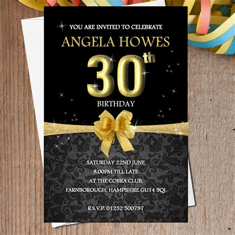 10 Personalised Black Gold Birthday Party Invitations N193 Black And Gold Birthday Invitations Templates