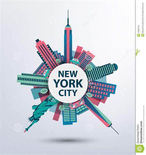 architecture layout vector new york city architecture retro vector stock vector
