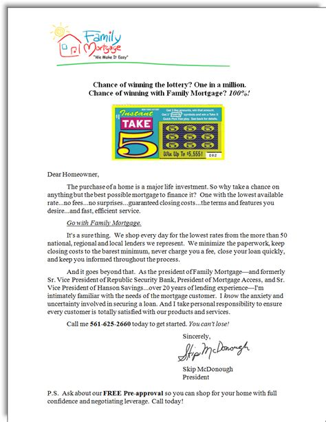 Sle Letter For Product Promotion Family Mortgage Sales Letter Jerry Mctigue Copywriter