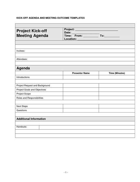 project kickoff meeting template project kickoff template best business template