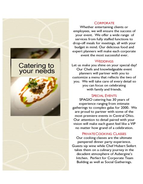 catering brochure templates catering brochure templates for sping summer menu free