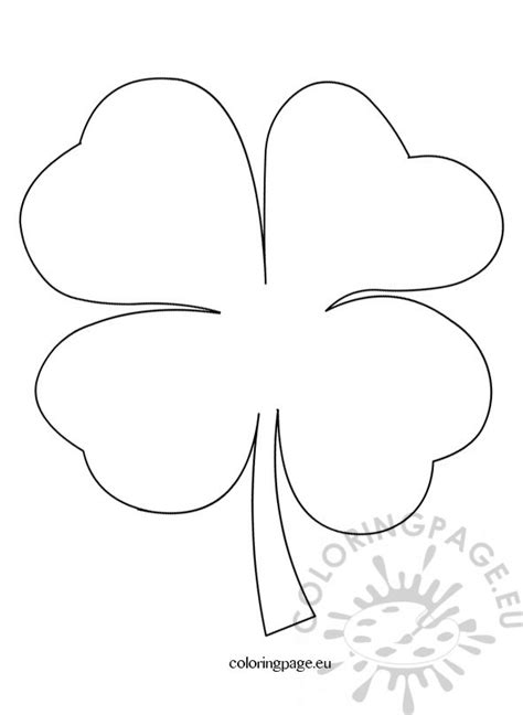 4 leaf clover pattern coloring page