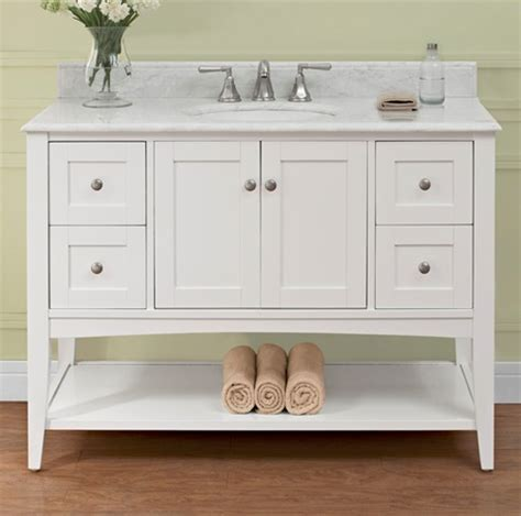 shaker americana 48 quot open shelf vanity polar white