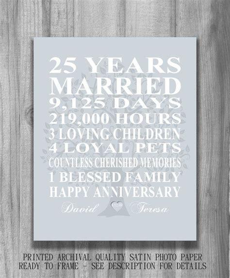 25th Wedding Anniversary Gift Silver Anniversary Print