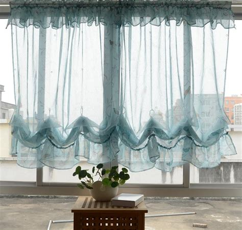 pull up drapes country pastrol floral sheer pull up balloon austrian cafe