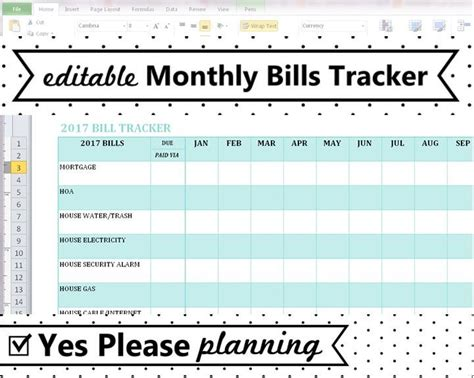Household Bill Tracker Monthly Bills Spreadsheet Bill Bill Tracker Template