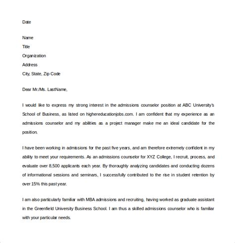 cover letter for college counselor position sle admission counselor cover letter 5 free